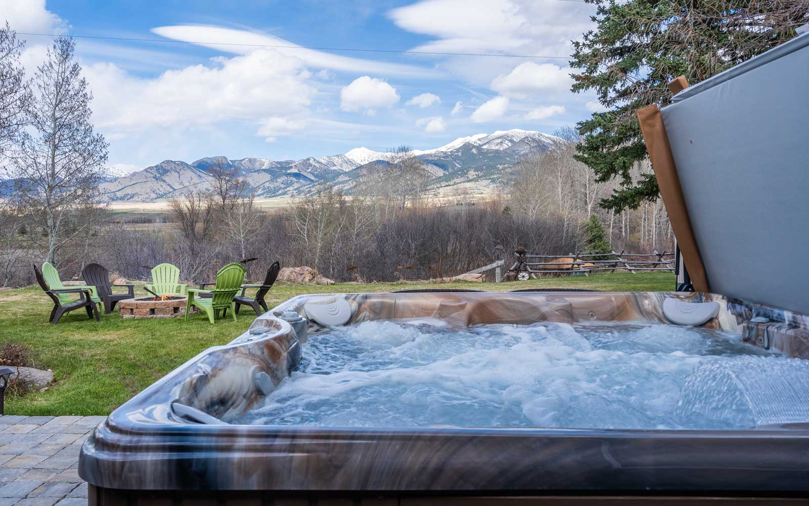Backyard with view at Cherry Creek in Bozeman, MT